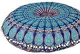 Americana Decor's Mandala Round Floor Cushion Cover Meditation Hippie Ottoman Decorative Beautiful Barmeri Pouf Cover (Blue)