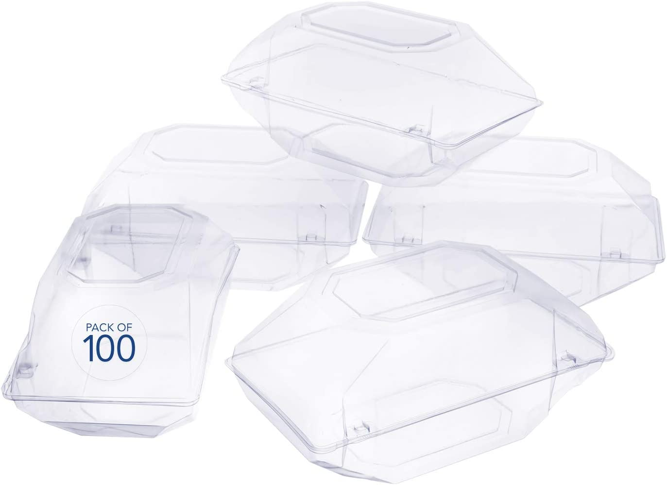Royal Imports 100 Pack Clear Plastic Flower Box for Corsage, Boutonniere, Rose, Orchid Prom Wedding Craft Container 9x5x4