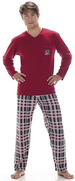 Cornette Pijamas Dos Piezas para Hombre CR-124-Shield (Rojo Vino, S