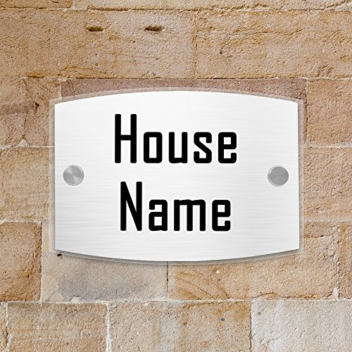 - JEXICASE Customized Personalised Door Plate, Acrylic Modern House Arc Transparent Sign Door Number Name Road Plaque-Text Layout 1