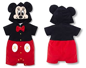 8a85c6bfb4f7 Amazon.com  SOPO Mickey Mouse Baby Boys Hoodie Romper Short Sleeve ...
