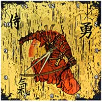 3dRose dpp_116373_2 Japanese Samurai with Swords Kanji Brave Energy Samurai Symbols Oriental Design-Wall Clock, 13 by 13-Inch