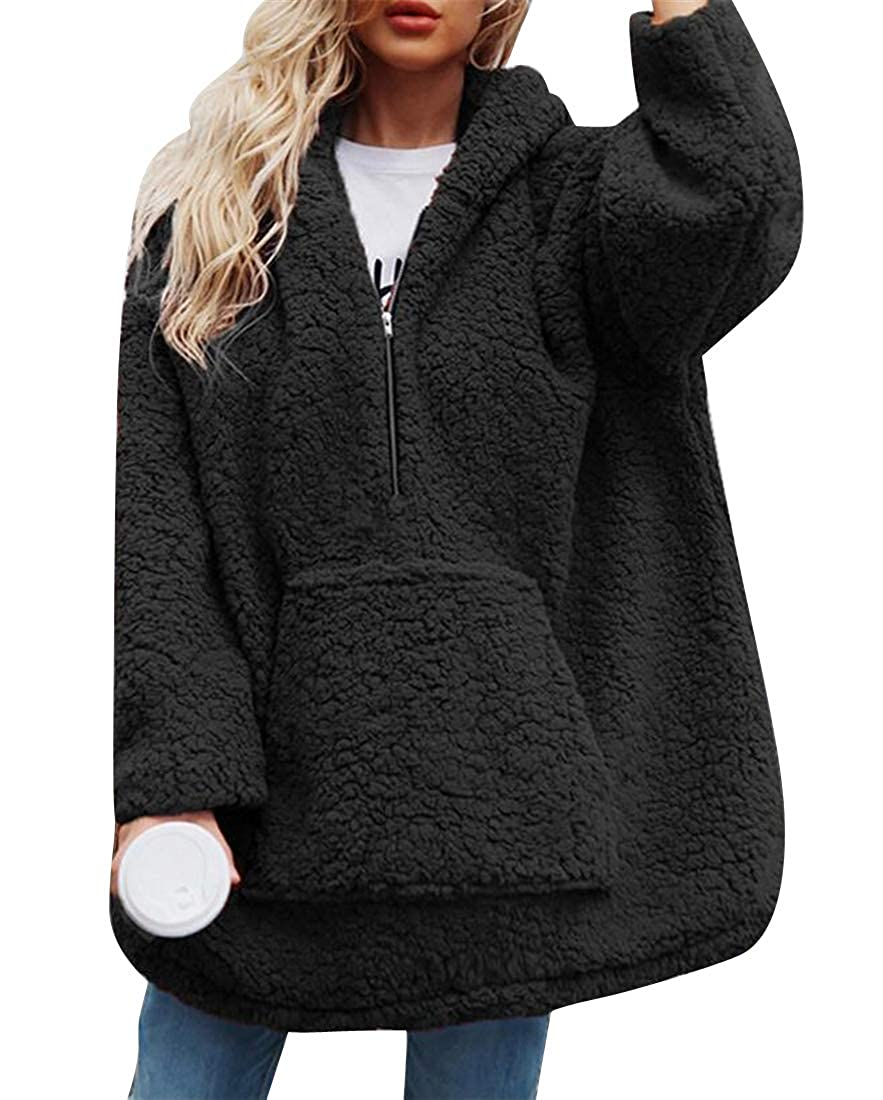 Jofemuho Womens Loose Fit Long Sleeve Faux Lambwool Casual Pullover Hooded Sweatshirt Top