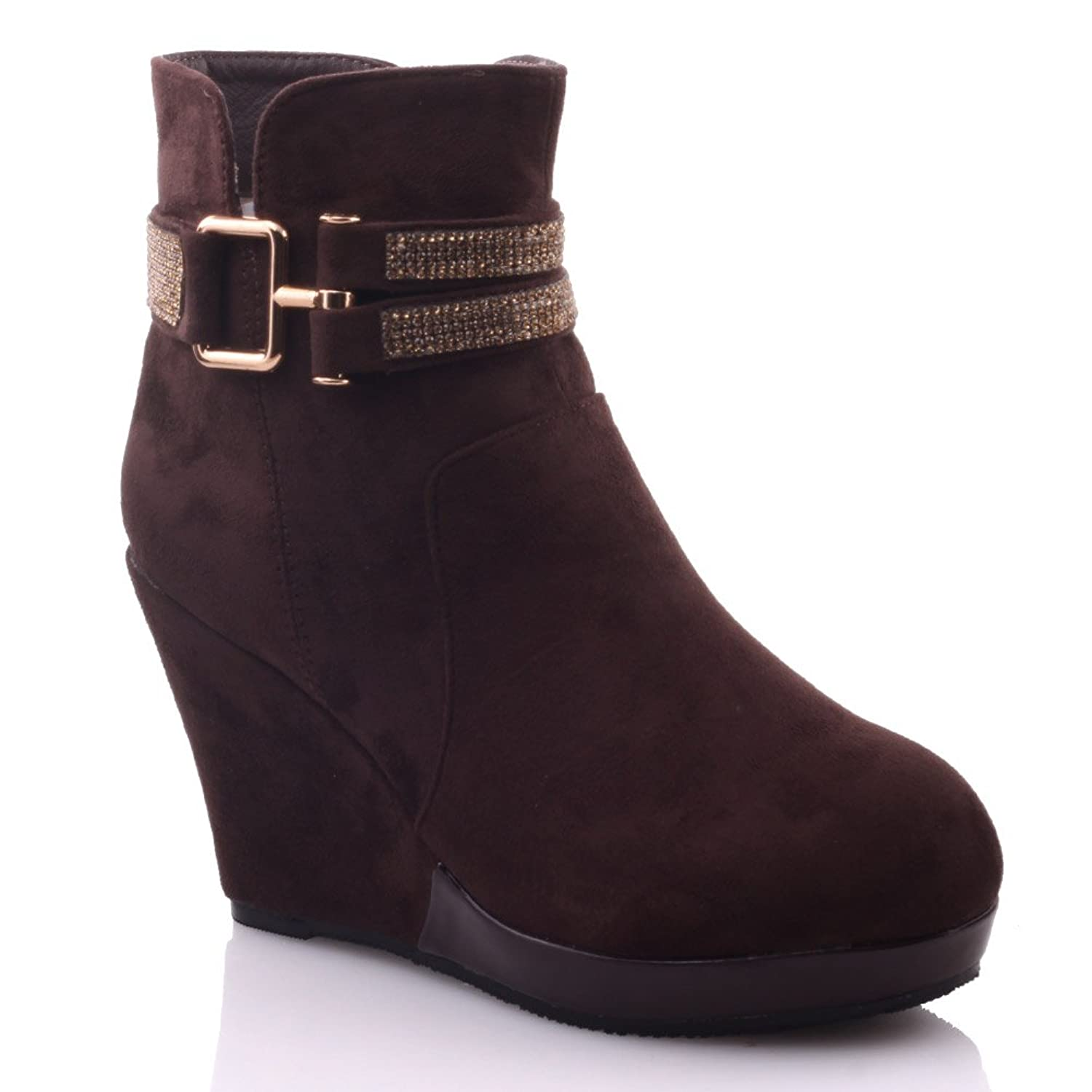 Unze Womens 'Raye' Adorable Ankle Winter Wedge Booties - A0519-7