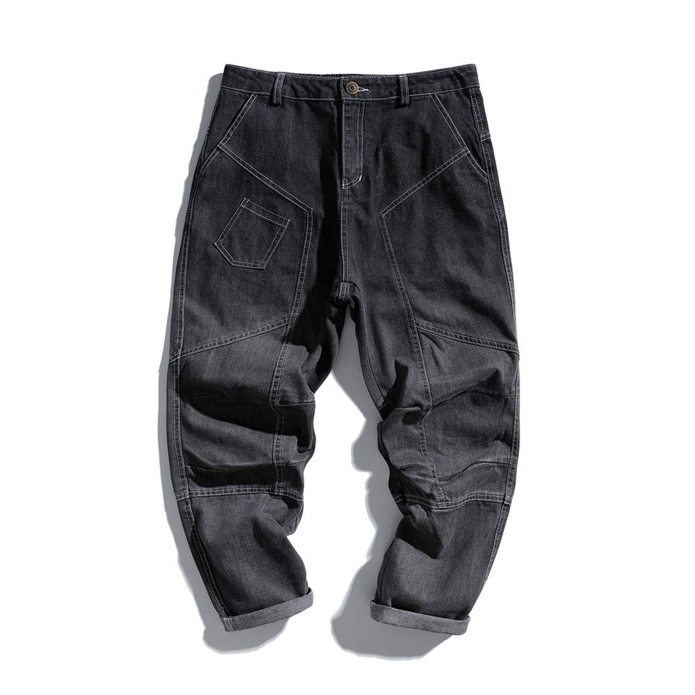 EVEORSSRA Washed Vaqueros Street Loose Washed EVEORSSRA Old Spliced Open Line Jeans de diseño Tide Men Casual Small Feet Haren Pants, 2XL, Negro f90e2f