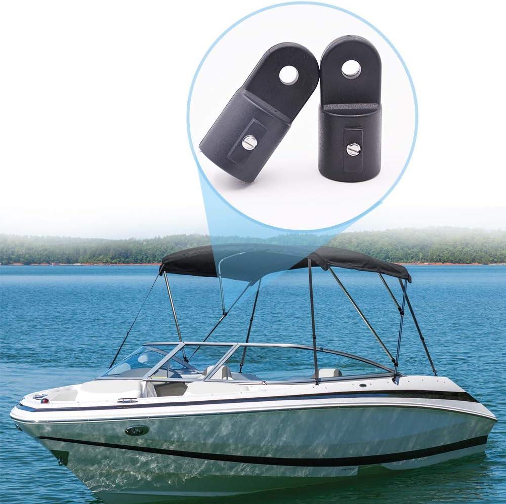 2Pcs Bimini Top Fitting Cap Fits 7//8 OD Round Tubing Boat Marine Hardware Plastic Black Nylon External Eye End Glorine