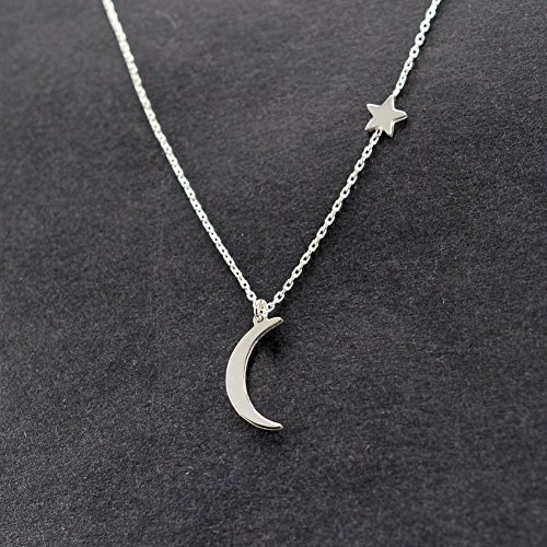 JIEPING Simple Metal Moon Star Choker Necklace Womens Gold Silver Plated Chain