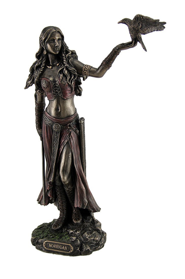 Resin Statues Morrigan The Celtic Goddess of Battle W/Crow & Sword Bronze Finish Statue 6.5 X 10.25 X 3 Inches Bronze by Veronese