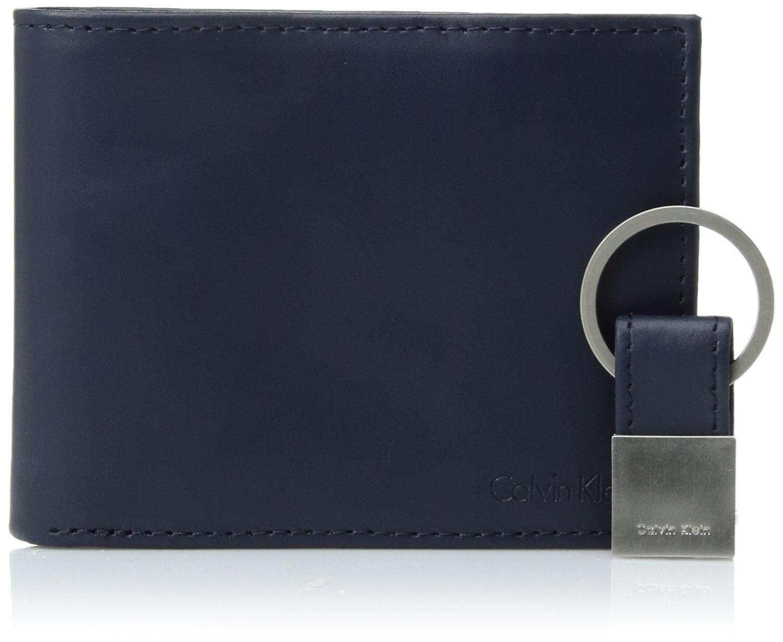 Calvin Klein Men's Calvin Klein Leather Bifold Wallet With Key Fob, Navy, One Size