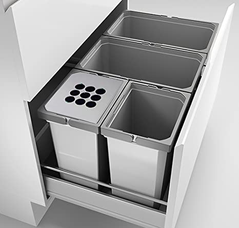 Abfallsorter Cox Box 2T/800-4 mit vierfach Trennung inkl. Biodeckel für 80  cm Schrankbreite / Abfalleimer / Abfallsammler / Mülleimer