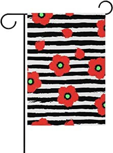 NOT Polyester Garden Flag, Red Poppy Flowers Floral Black White Stripes Double Sided Holiday Flag for Party Home Outdoor Decoration 12 x 18 Inches