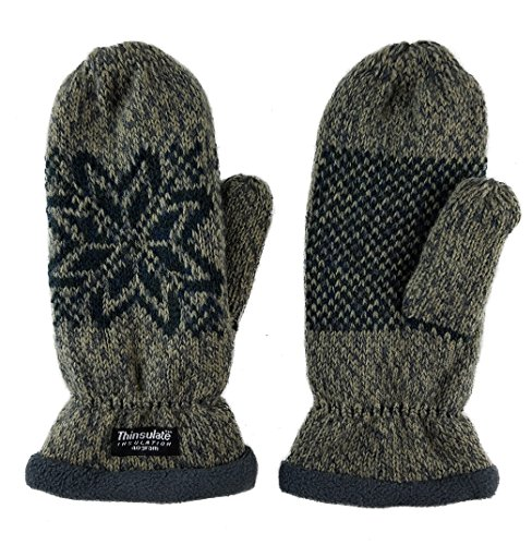 (Bruceriver Women Snowflake Knit Mittens with Warm Thinsulate Fleece Lining Size L (Taupe)