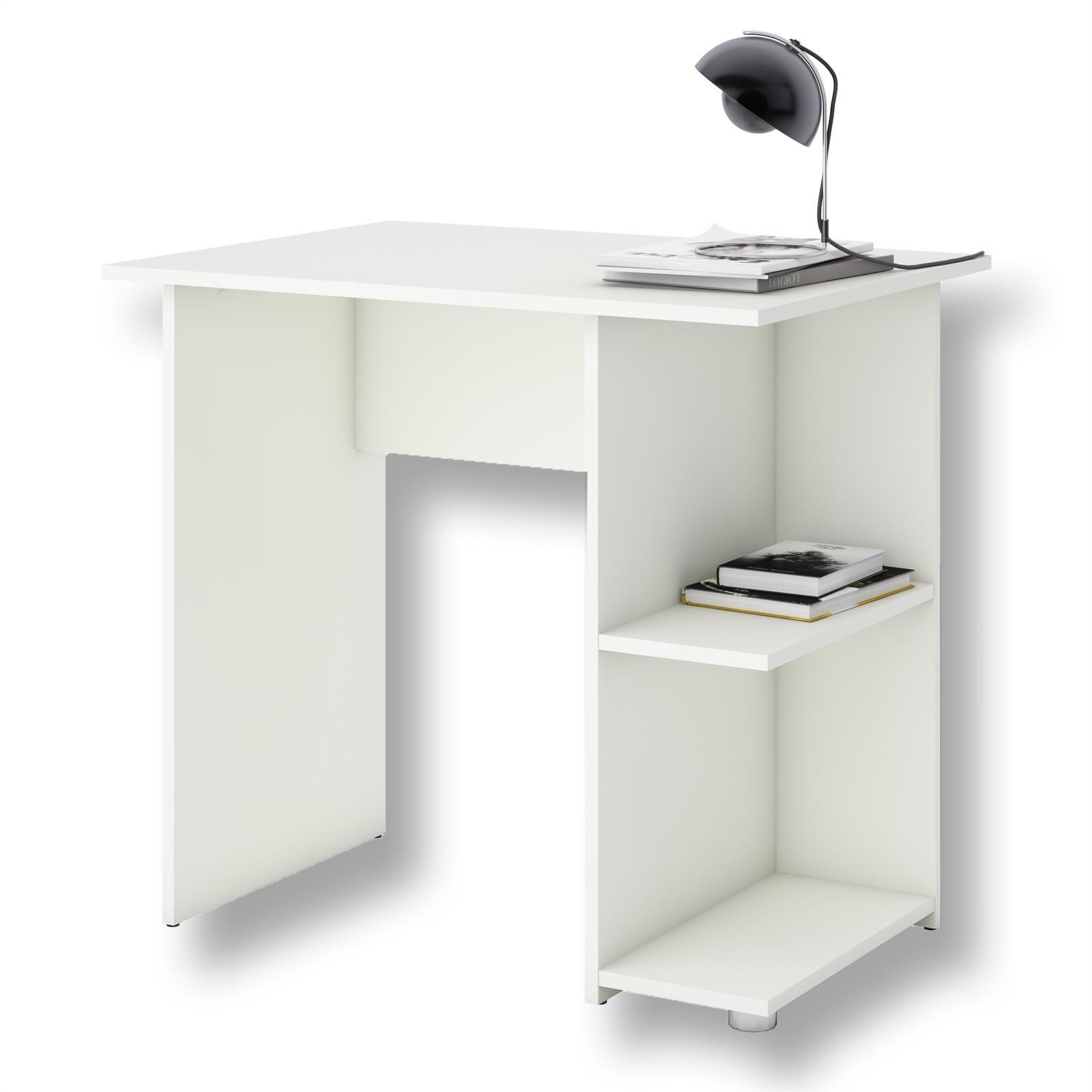 IDIMEX Bureau pour Enfant ou Adulte Nova, Bureau Informatique Table d'ordinateur avec Rangement Ouvert 2 tablettes latérales, en mélaminé Blanc Mat product image
