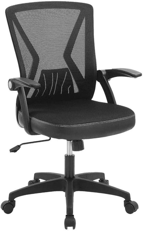 Ergonomic Office Desk Chair Mesh Swivel Computer Task Chair Mid-Back Adjustable Stool Rolling Home Office Chair with Flip up Arms-Black 300lb