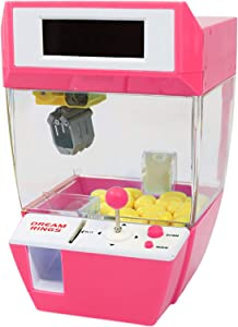 Mini Claw Machine, 2 in 1 Toy Claw Machine LCD Alarm Clock Mini Candies Toys Prize Dispenser Game with Sound for 1 2 3 4 5 Year Old Boys Girls Best Gift (Pink)