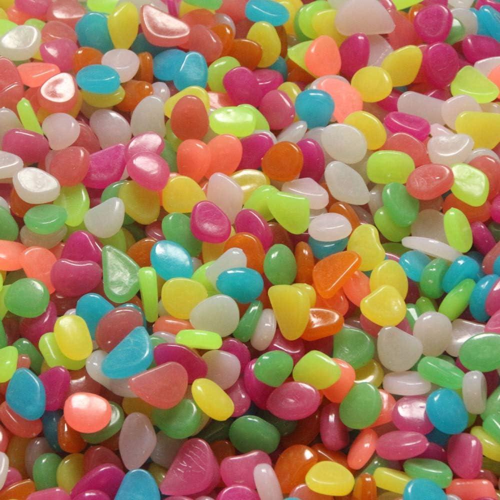 Set di 500 pietre luminose ghiaia da giardino brillante al buio acquari ciottoli,decorazione per marciapiedi Blusea vasi rosa.