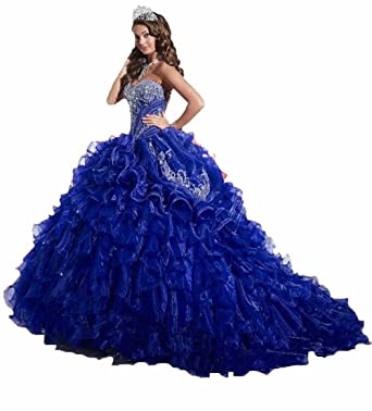 BEALEGAN Lady Womens Organza Ball Gown Prom Gown Embroidery Quinceanera Dresses Royal Blue 2