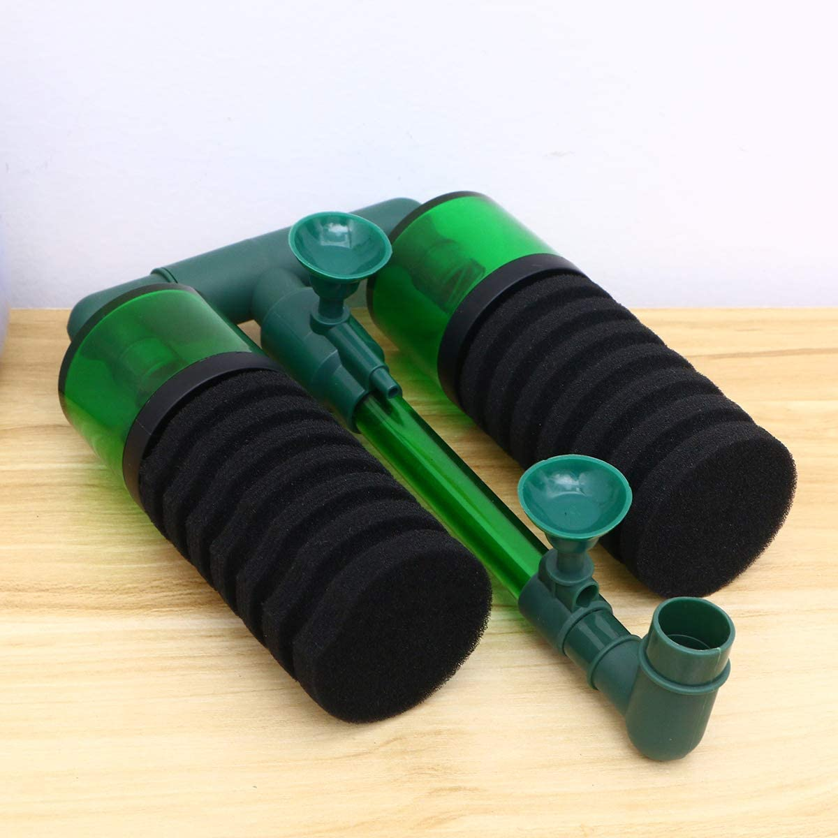 POPETPOP Filtro de Esponjas Bioqu/ímicas de Cabeza Doble Bomba de Aire con Ventosa para Acuario