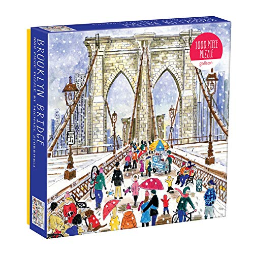 "Galison Michael Storrings Brooklyn Bridge Jigsaw Puzzle, 1000 Pieces, 20"" x 27'' – Illustrated Art with Scene from New York Famous Landmark – Challenging and Family-Friendly – Fun Indoor Activity"