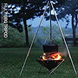 Portable Charcoal BBQ Grill Outdoor Garden Patio Tripod, BBQ Barbeque Grill Grill Firewood Black Barbecue BBQs and Grills Steel Round and Firepit