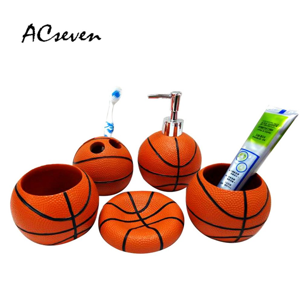 Creative Basketball Resin 5 Pieces Bathroom Accessory Set, Creative Soap Dish Liquid Soap Dispenser Toothbrush Holder Tumbler