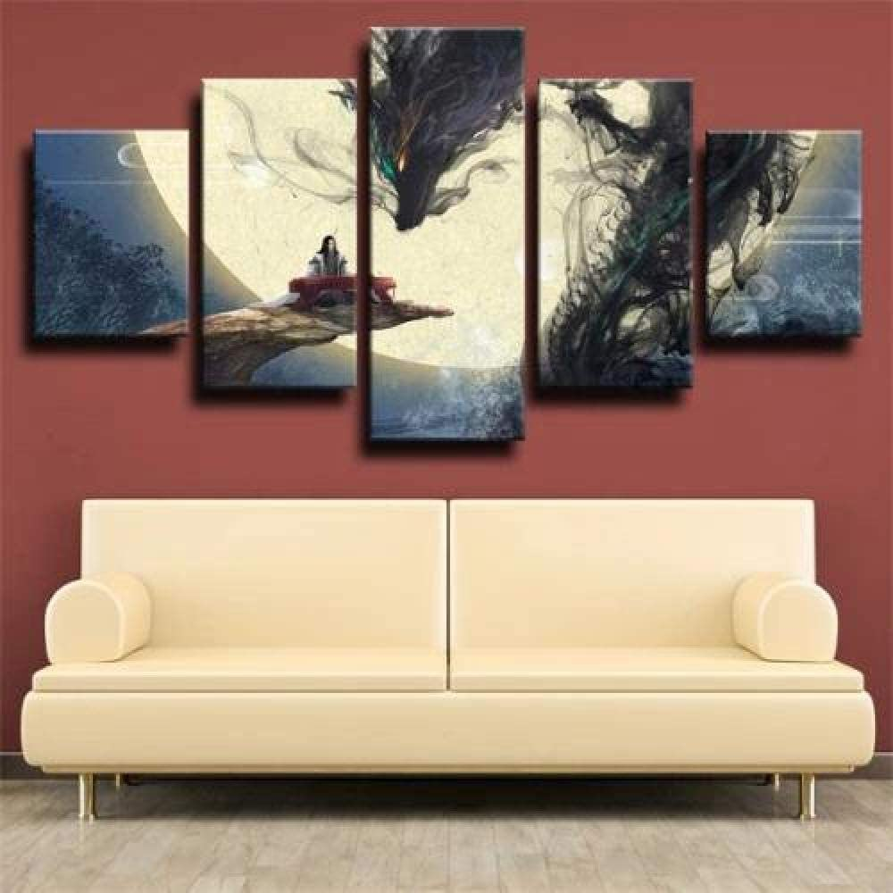 QMCVCDD Wall Art 5 Pieces Canvas Prints Modern Creative Gifts Hd Poster Artwork Fantasy Dragon and Man Play Piano Canvas Print Home Decoration