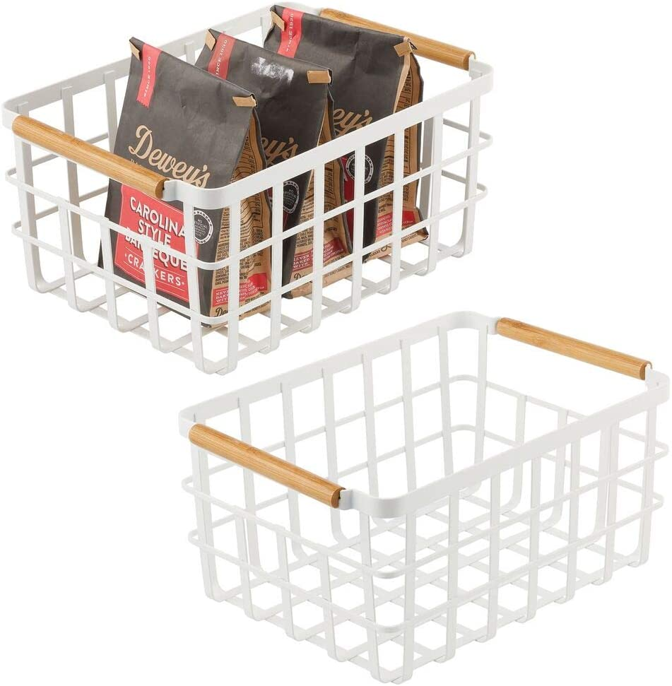 mDesign Farmhouse Decor Metal Wire Food Organizer Storage Bin Baskets with Bamboo Handles for Kitchen Cabinets/Pantry - Store Fruit, Coffee, Spices, Pasta, Baking Supplies, 2 Pack - Matte White/Bamboo