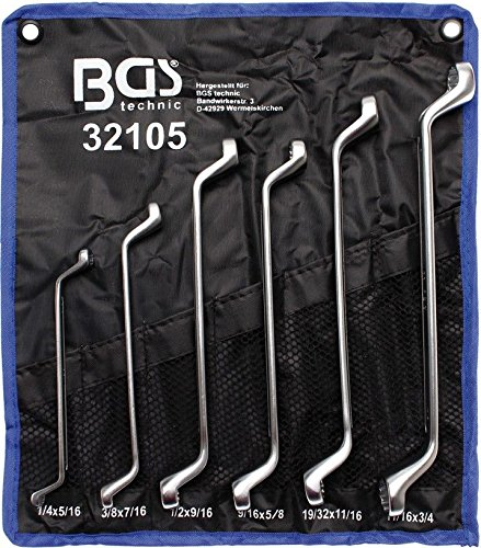 BGS technic PRO+ 6-piece Double Ring Spanner Set, 75° offset, SAE sizes, 1/4'-3/4'