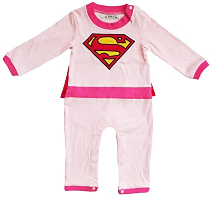 baby stores near me V28® Superhero's Unisex-baby All in 1 Fancy Romper Suits with Cape (6-9 month, Supergirl-LongSleeves)