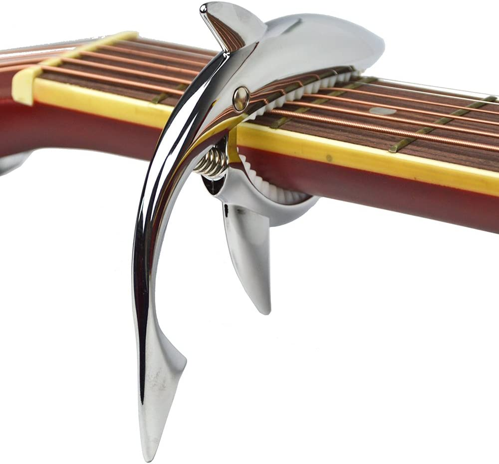 Shark Capo,Zinc Alloy Tone Clip for Acoustic,Folk,Electric Guitar and Ukulele (Silver)