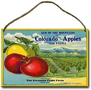 Lplpol Vintage Metal Sign Tin Art, Paonia Colorado Gem of The Mountains Apple Fruit Crate Label Art, Funny Livingrooms Bar Club Garden Coffee Shop Wall Art Decoration 10x14 inches