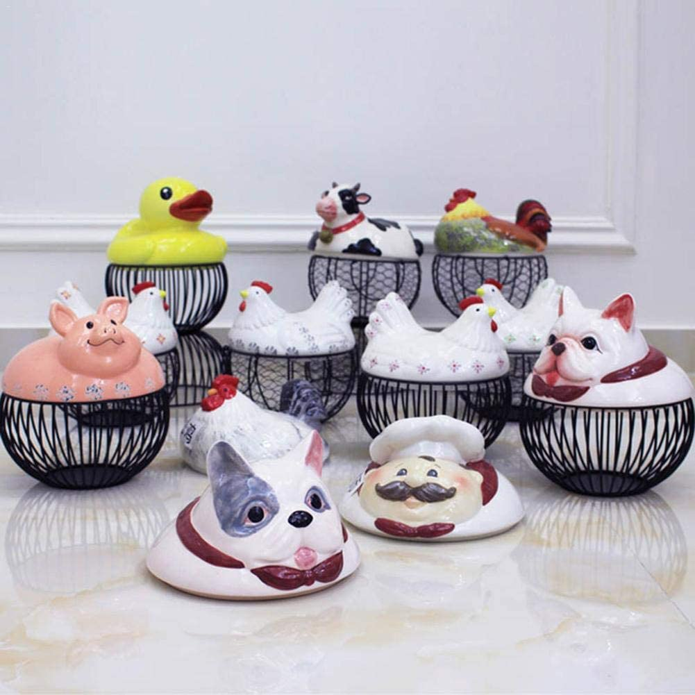 Decorative Kitchen Storage Basket Countertop Egg Basket Egg Storage Basket Egg Holder Organizer Container Egg Collecting Basket Ceramic Farm Chicken Shaped Top with Handles