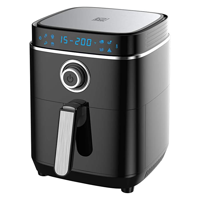 LC-Power Air Fryer,1500W Metal Inner Cavity Air Fryer Oven with 50 Recipe Books,LED Digital Touchscreen and 4.0QT Nonstick Square Basket(Black)