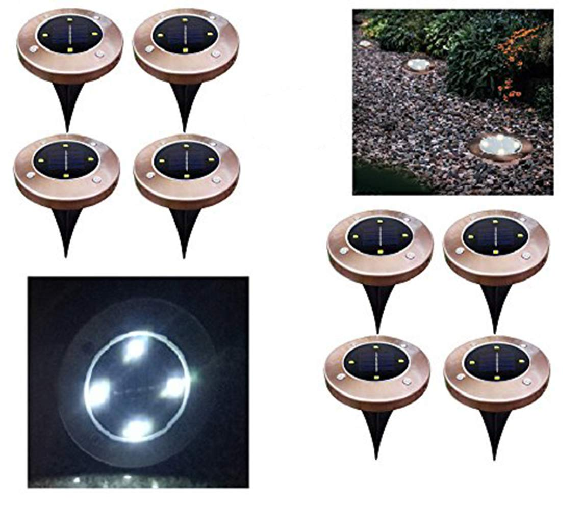 cheerfullus Bronze 4led Solar Ground Lights,8PCS Garden Pathway Lights Outdoor Waterproof Lamp Landscape Lighting Driveway,Deck,Garden,Yard,Lawn - White by cheerfullus