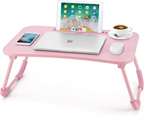 Nnewvante Lap Desk Bed Table Tray for Eating Writing Foldable Desk with iPad Slots for Adults/Students/Kids, Pink