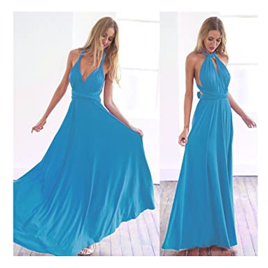 62d3594fac Manyis Women Evening Dress Convertible Multi Way Wrap Bridesmaid Formal  Long Dresses Aqua Blue S
