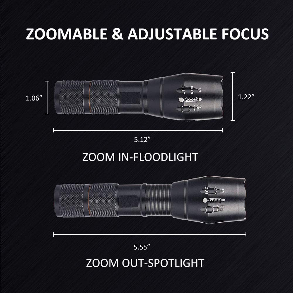 Flashlights, SONATA LED Tactical Flashlight (2 PACK), Handheld Light with High Lumens, Zoomable, 5 Modes, Water Resistant, for Camping, Outdoor, Emergency, Everyday Flashlights - -