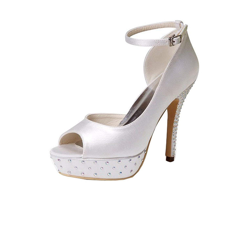 Qiusa GYMZ635 Damen Zehenloch Stöckel Absatz Satin Satin Satin Braut Hochzeit Knöchelriemen Sandale Schuhe (Farbe   Ivory-12cm Heel Größe   8.5 UK) 33a21e