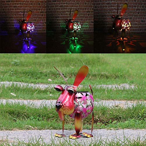 W-DIAN Red Dog Solar Garden Lights Metal Art Outdoor Patio Decorative Animal LED Lawn Metal Decorative RGB Multi Color Change