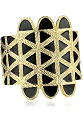 Kenneth Jay Lane Gold and Black Enamel Cuff Bracelet