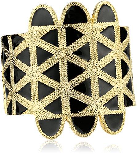 Kenneth Jay Lane Gold and Black Enamel Cuff Bracelet (Lane Black Bracelet Kenneth)