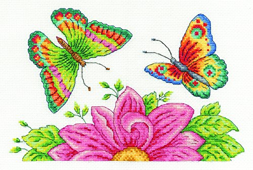 Dmc Cross Stitch Kits - DMC BK1545 14 Count Butterfly Garden Counted Cross Stitch Kit, 10