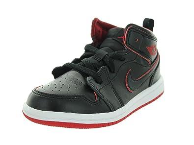 3fbaf6286b8 Nike Jordan Toddlers Jordan 1 Mid Bt Black Black White Gym Red Basketball