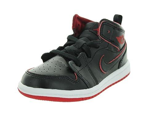 low priced 33407 f4075 Jordan Toddler 1 Mid Black/Black-White-Gym Red