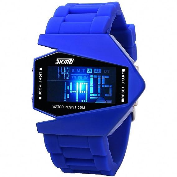 Unisex Fashion SKMEI hombre sintética Sports hombre reloj Digital luz nocturna correa de goma de colores caja multifunción+: Amazon.es: Relojes
