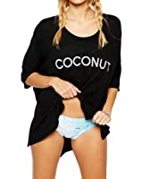 Bestyou Women's High-Low Letters Prints Tops T-shirts Cover up Tunic Free Size