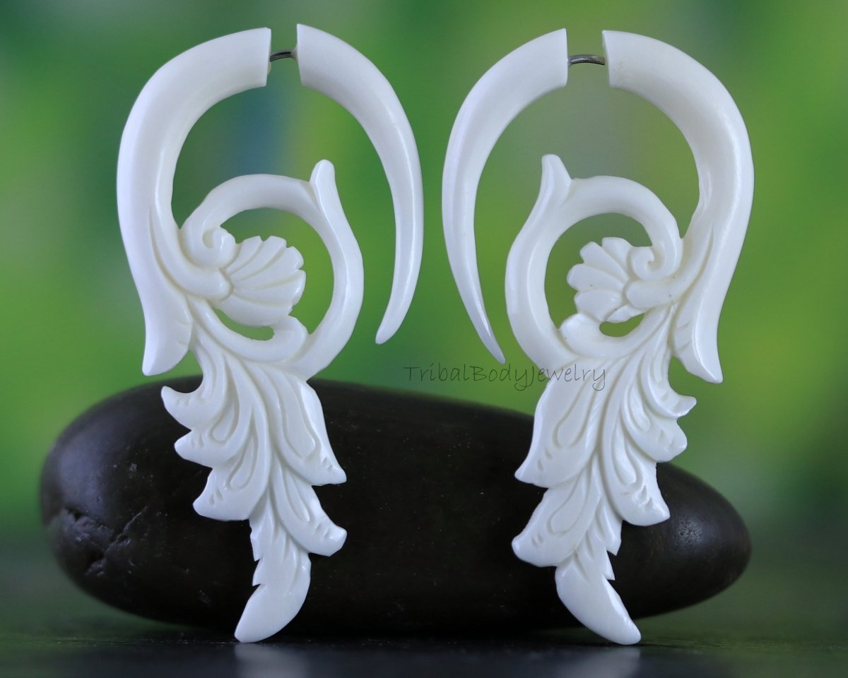 Bone Earrings Hand Carved Dragon Fake Gauge Organic Recycle Material For Regular Pierced Ear