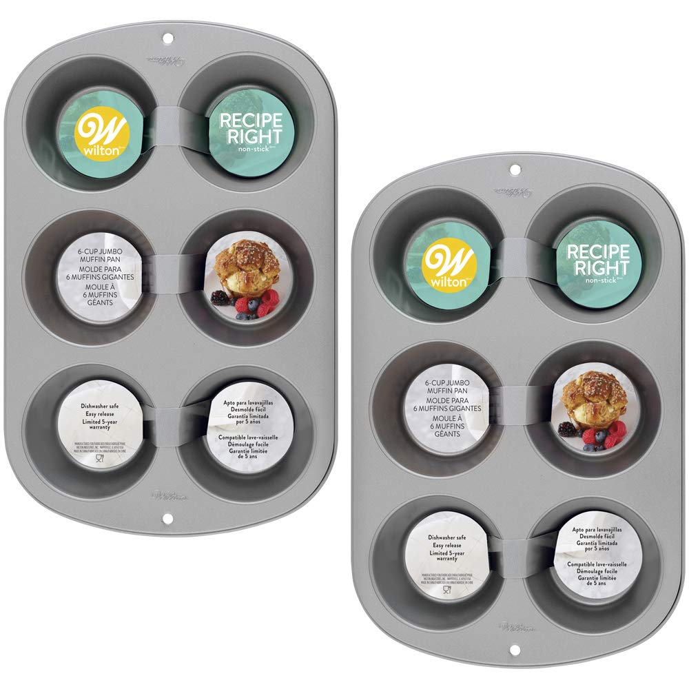 Wilton Recipe Right Non-Stick 6 Cup Jumbo Muffin Pan, Multipack of 2 by Wilton (Image #2)