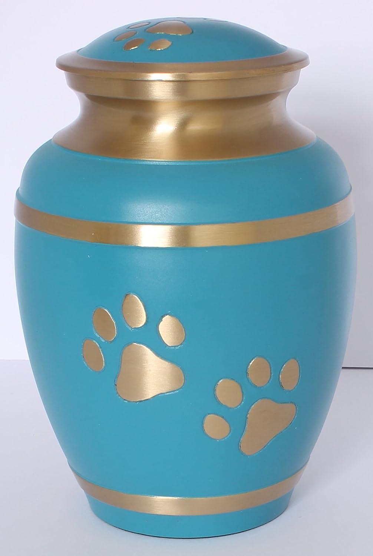 Urne funéraire pour animal domestique, Dog Cat Memorial, Urne funéraire pour cendres, 17,8cm, turquoise et doré Imprimé pattes fabriquée à la main UrnsWithLove