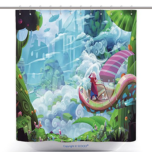 vanfan-Cool Shower Curtains The Boy Grows up. No One in The Village Can Wipe His Thought Looking A Life in The Iron Metropolis_ Polyester Bathroom Shower Curtain Set Hooks(72 x 96 inches)